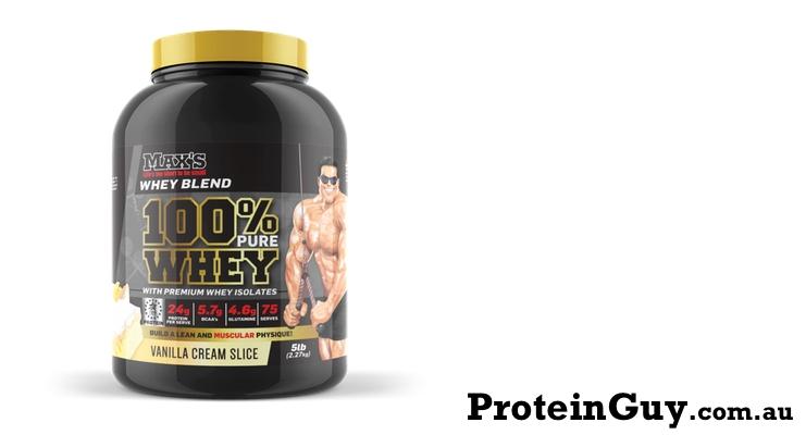 100% Pure Whey Protein by Maxs 5lb 2.27kg Vanilla Cream Slice
